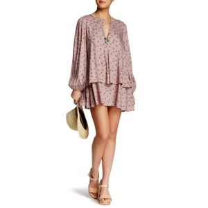 Free People NY Printed Beck Taupe Tunic Dress